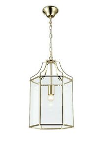Traditional Hanging Lantern Hexagonal Chandelier Vintage French Gold Glass Light