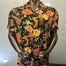 Forever 21 Men XL Hawaiian Tropical Floral Print Short Sleeve Black Multi Shirt