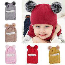 Kids Infant Hooded Scarf Knit Hat Boy Girl Winter Warm Soft Cap Scarf Autumn