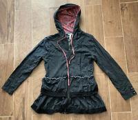Matilda Jane Womens Hoodie Zipper Gray Size Small S With Ruffles