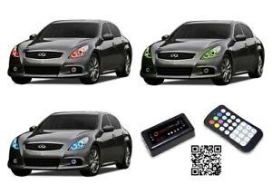 LED Headlight Halo Ring Bluetooth Multi-Color RGB Kit for Infiniti G37 10-13