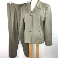 Harve Benard Womens 100% Wool 14 Blazer Jacket 16 Pants Brown Tweed Cuff Slacks