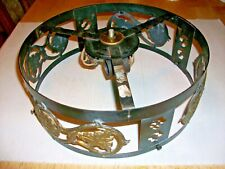 """New listing Rare Antique 12"""" Fitter Ring Metal Brass Filigree Decorative Panels Lamp Fixture"""