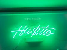 """New Hustle Neon Light Sign Lamp Beer Pub Acrylic 14"""" Real Glass Decor Gift Green"""