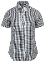 Relco Womens Black Gingham Short Sleeve Button Down Collar Shirt