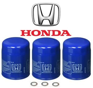 3 SET NEW Genuine OEM Honda Acura Oil Filter with Plug washer 15400-PLM-A02