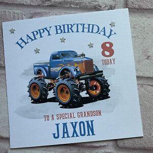 PERSONALISED Handmade BIRTHDAY CARD  Monster Truck SON GRANDSON NEPHEW ANY AGE