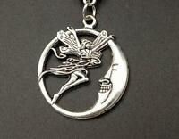 "925 STERLING silver 20"" necklace HALF MOON FAIRY sun pendant female mom free box"