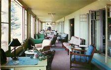 PO Inlet New York~Holls Inn~Glass-Enclosed Lobby Porch~1950s Postcard
