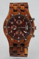 Bewell Holzuhr, Datum, Chronograph, rotesSandelholz, 46mm,Top Geschenk,Herrenuhr