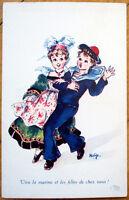 1920 WWI Postcard: Woman Dancing w/Marine/Sailor, Artist-Signed