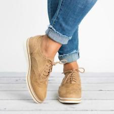 Señoras plano ancho-Fit Negro Oxford Formales Con Cordones Bombas Zapatos para mujer