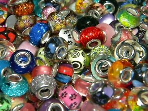 NEW 100/Pc COLORFUL High Visual Mixed 14mm RESIN European Beads lot (100)