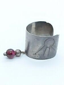Vintage Sterling Silver Garnet Bead Dangle Ear Cuff