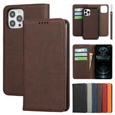 For iPhone 12 Pro Max 11 Xr 8 7+ Plus Removable Leather Flip Wallet Case Cover