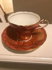 Aynsley Bone China Orange W Gold Filigree Vintage Tea Cup and Saucer Set E