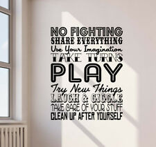 Playroom Rules Wall Decal Kids Room Sign Nursery Quote Vinyl Sticker Decor 826