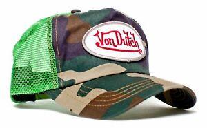 Authentic Vintage Von Dutch Originals Lime Green Camo Truckers Cap Hat Snapback