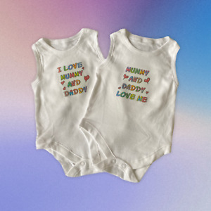 Baby Vests. Set of 2. 'Mummy and Daddy Love Me' and 'I Love Mummy and Daddy'.