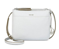 Nine West NWT $59 White Helda Crossbody Shoulder Bag Pebble Faux Leather Medium