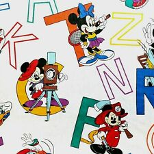 Vintage Disney Dundee Alphabet Sheet Fitted Toddler Mickey Minnie Goofy 80s