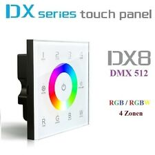 LTECH DX8 4 Zonen LED RGBW RGB+W Touch Panel DMX 512 Controller 2.4GHz Unterputz