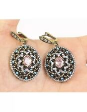 Antique Vintage 925 Silver Amethyst, Turquoise and Topaz Earrings(21Gram).