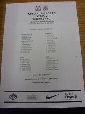 18/09/2010 Teamsheet: Crystal Palace v Burnley  (Creased/Folded).  Thanks for ta