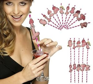 Willy Straws x 10 Hen Party Night Accessories Dicky Drinking Game Paper Straws