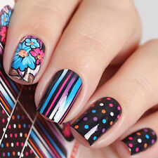 XL Elegant Water Transfer Slides Nail Art Stickers Decals Decor Flowers Dots DIY