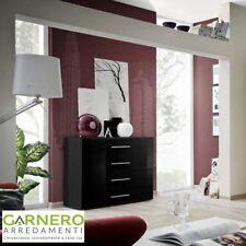 Cassettiera FLORIDA corpo nero e cassetti neri lucidi design casa arredo