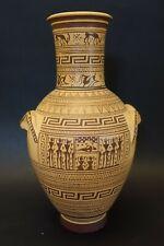 "ulzK1 ANCIENT GREEK DIPYLON GEOMETRIC REPRODUCTION vase, 10""  ""exact copy 800bc"