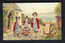 """Posted 1951: Illustrated Card: Ladies: """"Welsh Tea Party"""""""