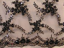 PARISIENNE BLACK Beaded Lace Scalloped Edges Fancy Apparel Wedding Fabric