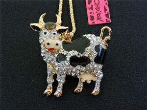 Betsey Johnson Rhinestone Black Enamel Lovely 3D Cow Pendant Necklace Chain