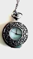Vintage Style Silver Tone Pocket Watch Necklace Quartz Battery Included New