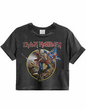 Amplified Iron Maiden Trooper Charcoal Ladies Women's Cropped Band T-Shirt