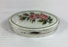Antique 1911 Guilloche Enamel & Solid Silver Floral Decorated Trinket/Pill Box