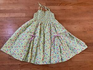 Oilily Green Pink Garden Gnome Floral Smocked Dress Sundress Size 140 (10)