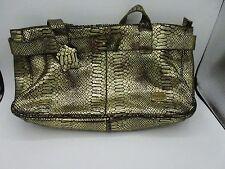 CNKW C&K Purse Metallic Gold Black Reptile Print Shoulder Medium Shiny Designer