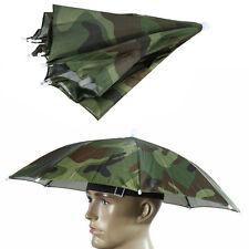 Camouflage Pattern Sun Rain Umbrella Elastic Headband Hat Cap Nylon Umbrella