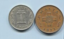 MALTA - TWO BEAUTIFUL HISTORICAL 1972 COINS, 1 CENT & 5 CENTS