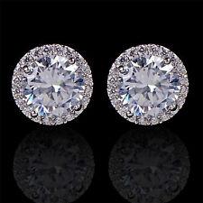 Women's 18K White Gold Plated Crystal Zircon Inlaid Ear Stud Earrings Jewelry GU