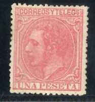 Sellos de España 1879 Alfonso XII 1 peseta rosa nº 207 sello certificado ref.A1