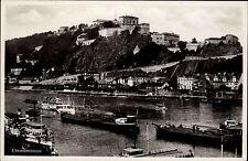 Ehrenbreitstein Koblenz ~1930 Blick Rhein auf die Burg Schiffe Frachtschiffe