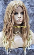 Long Beach Wavy Blonde Mix Full Lace Front Wig Heat Ok Hair Piece #T27.613
