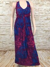 Liz Lange Maternity Maxi Dress Long Stretch Cross Back Straps Ruching Women's XS