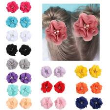 2Pcs Kids Girls Mini Chiffon Flowers with Pearl Rhinestone Hair Clip Barrettes G