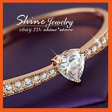 18K ROSE GOLD FILLED 60MM HEART CHANNEL SIMULATED DIAMOND SOLID BANGLE BRACELET
