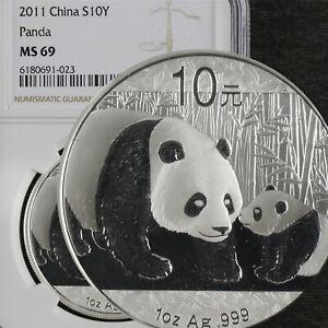 2011 China S10Y PANDA silver NGC MS 69